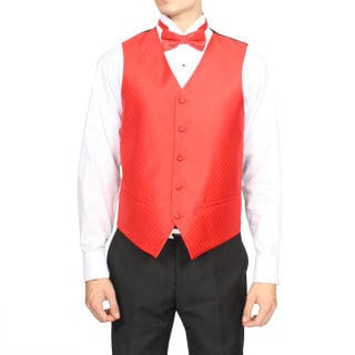Ferrecci Men's Candy Red Diamond Pattern 4-piece Vest Set