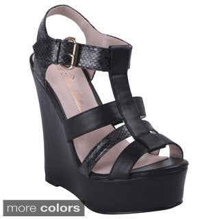 Blossom Women's Jode--22 Strappy Platform Wedge Sandals with Buckled Ankle Strap