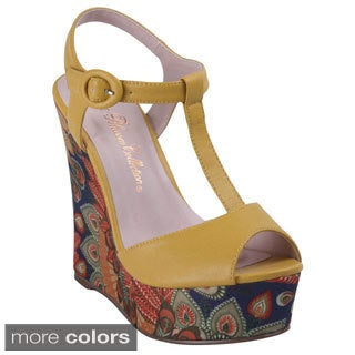 Blossom Women's Jode-14X Platform Print Wedge Sandal with Buckle Ankle Strap