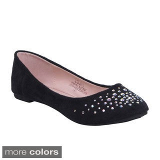 Blossom Women's Lynn-6 Slip-on Ballet Flats with Shinning Decoration
