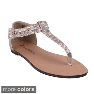 Blossom Women's Cruise-10 Back Close Sparkle T-strap Flat Sandals