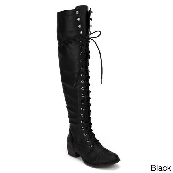 Breckelle's Women's 'Alabama-12' Elastic Over-the-knee Combat Boots