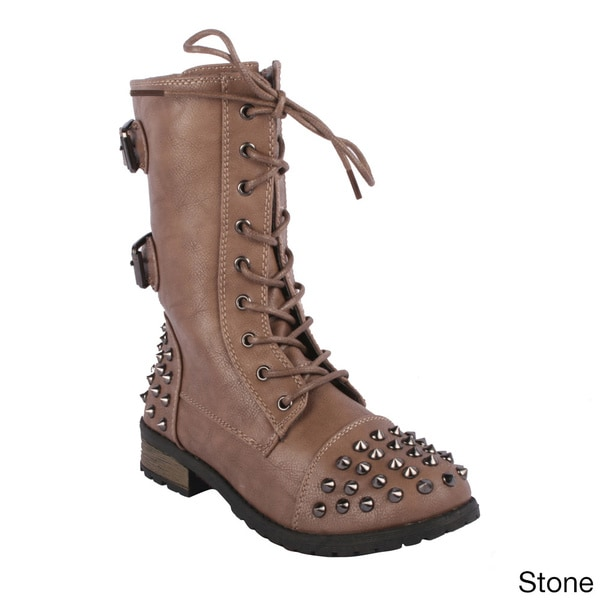 Forever Women's 'Mango-66' Studded Lace-up Combat Boots