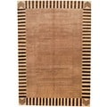 Afghan Hand-knotted Vegetable Dye Beige/ Ivory Wool Rug (6'8 x 9'9)