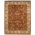Indo Hand-knotted Vegetable Dye Burgundy/ Ivory Wool Rug (7'10 x 10')