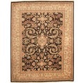 Afghan Hand-knotted Vegetable Dye Brown/ Beige Wool Rug (8' x 10')