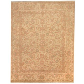 Afghan Hand-knotted Vegetable Dye Beige/ Peach Wool Rug (8' x 10')