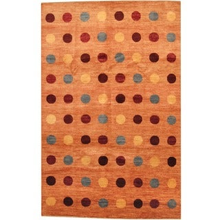 Afghan Hand-knotted Vegetable Dye Orange/ Burgundy Wool Rug (6'8 x 10'4)