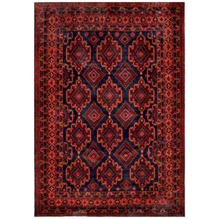 Afghan Hand-knotted Tribal Balouchi Navy/ Salmon Wool Rug (8' x 11'5)