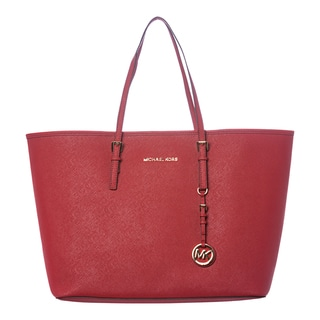 MICHAEL Michael Kors 'Jet Set' Medium Red Leather Travel Tote