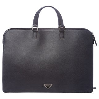 Prada Baltic Blue Saffiano Leather Briefcase