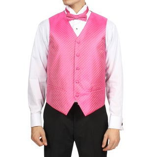 Ferrecci Men's Fuchsia Diamond Pattern 4-piece Vest Set
