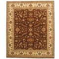 Indo Hand-knotted Vegetable Dye Brown/ Ivory Wool Rug (8'1 x 9'6)