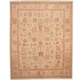 Afghan Hand-knotted Vegetable Dye Ivory/ Peach Wool Rug (8' x 10')