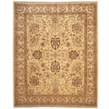 Afghan Hand-knotted Vegetable Dye Ivory/ Brown Wool Rug (8' x 10')