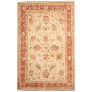 Afghan Hand-knotted Vegetable Dye Ivory/ Rust Wool Rug (6'8 x 10'4)