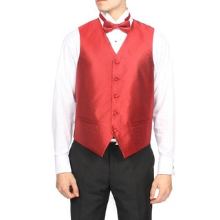 Ferrecci Men's Wine Royal Red 4-piece Vest Set