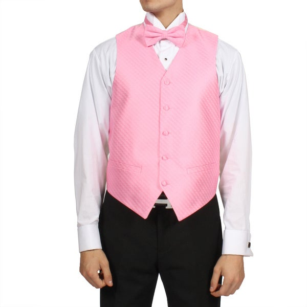 Ferrecci Men's Pink Rose 4-piece Vest Set