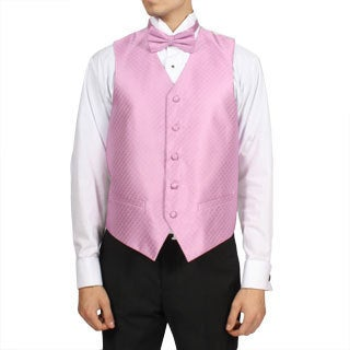 Ferrecci Men's Dark Pink 4-piece Vest Set