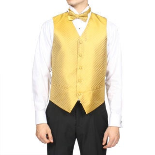 Ferrecci Men's Gold Diamond Print 4-piece Vest Set