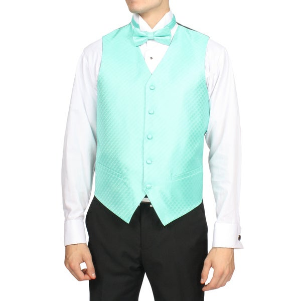Ferrecci Men's Pale Turquoise 4-piece Vest Set