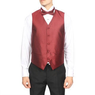 Ferrecci Men's Burgundy Red Diamond Pattern 4-piece Vest Set
