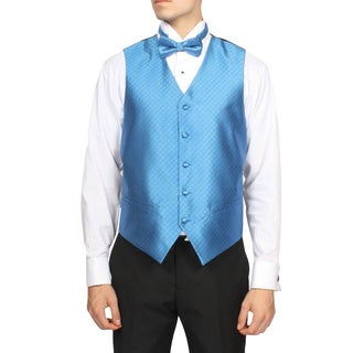 Ferrecci Men's Blue Diamond Pattern 4-piece Vest Set