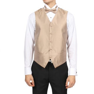 Ferrecci Men's Solid Champagne Pattern 4-piece Vest Set