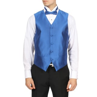Ferrecci Men's Royal Blue Solid 4-piece Vest Set