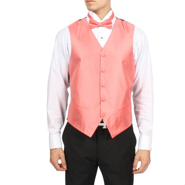 Ferrecci Men's Pink Coral Solid 4-piece Vest Set