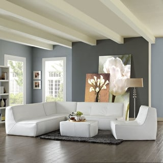 Align White Leather 5-piece Sectional Sofa Set