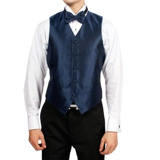 Ferrecci Men's Navy Blue Diamond Print 4-piece Vest Set