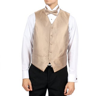 Ferrecci Men's Champagne Diamond Pattern 4-piece Vest Set