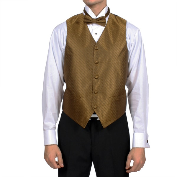 Ferrecci Men's Sahara Bronze Diamond Pattern 4-piece Vest Set