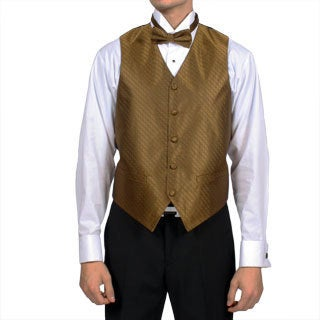 Ferrecci Men's Sahara Bronze Diamond Pattern 4-piece Vest Set