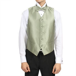 Ferrecci Men's Sage Green Diamond Pattern 4-piece Vest Set