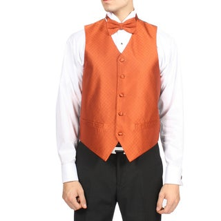 Ferrecci Men's Tangerine Orange Diamond Pattern 4-piece Vest Set