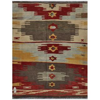 Afghan Hand-woven Kilim Maroon/ Grey Wool Rug (4'10 x 6'6)