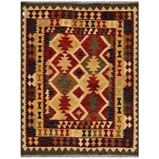 Afghan Hand-woven Kilim Red/ Olive Wool Rug (5' x 6'6)