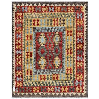 Afghan Hand-woven Kilim Red/ Charcoal Wool Rug (5'1 x 6'5)