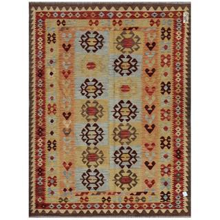 Afghan Hand-woven Kilim Gold/ Charcoal Wool Rug (4'11 x 6'5)