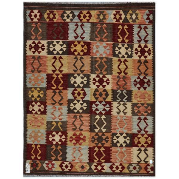 Afghan Hand-woven Kilim Maroon/ Olive Wool Rug (4'10 x 6'5)
