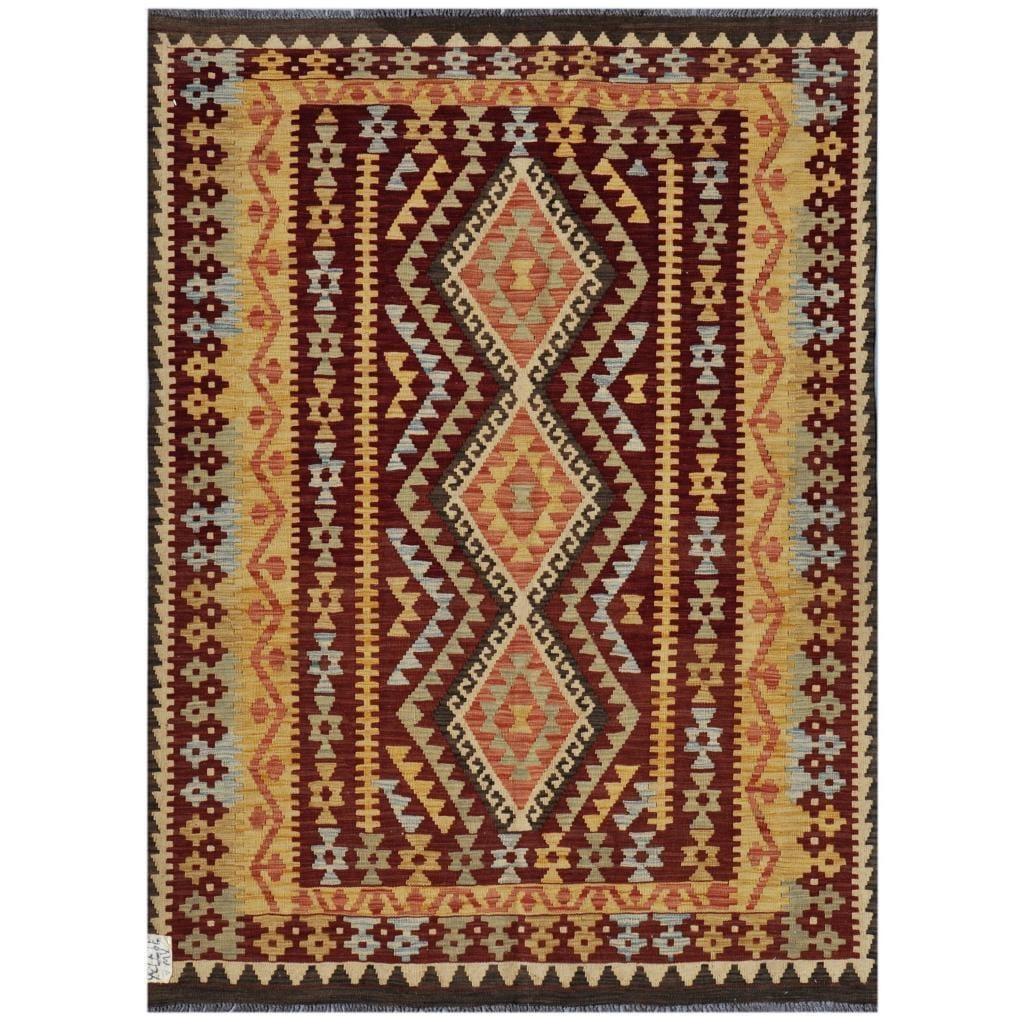 Afghan Hand-woven Kilim Maroon/ Charcoal Wool Rug (4'7 x 6'5)