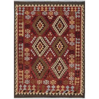 Afghan Hand-woven Kilim Maroon/ Olive Wool Rug (4'8 x 6'7)