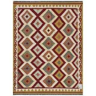Afghan Hand-woven Kilim Maroon/ Gold Wool Rug (4'9 x 6'5)