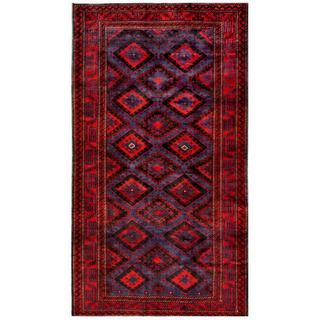 Afghan Hand-knotted Tribal Balouchi Navy/ Rust (6'2 x 11')