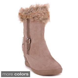 Troll Women's Suede Hidden Wedge Ankle Booties