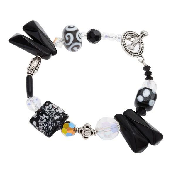 Black Onyx, Austrian Crystal and Glass Lampwork Beaded Bracelet 12306642