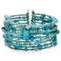 Glam Turquoise Blue Glass Beaded Cuff Bracelet