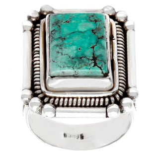 Sterling Silver Square-cut Created Turquoise Ring